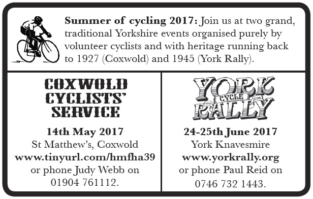 Campsite bookings open, AGM and sportive dates, first draft leaflet & cards…