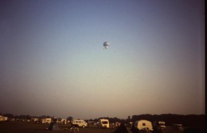 "1995 ""A hot air balloon launched at the far end of the Knavesmire and carried over the camp site early Sunday morning 1995."" Photo: Barry Raynor"