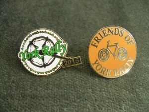 York Rally 2015 and Friends of York Rally badges. Photo: Anthony Bowles