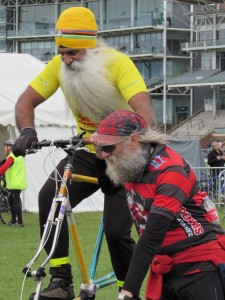 Trying out a tall bike at the 2015 York Rally: Photo Pat Douglass
