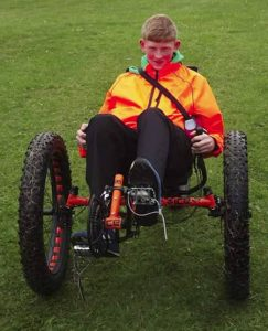 Trying out the 'Full Fat' all-terrain trike from ICE at the 2015 York Rally trade show. Photo: Robert Kelly.