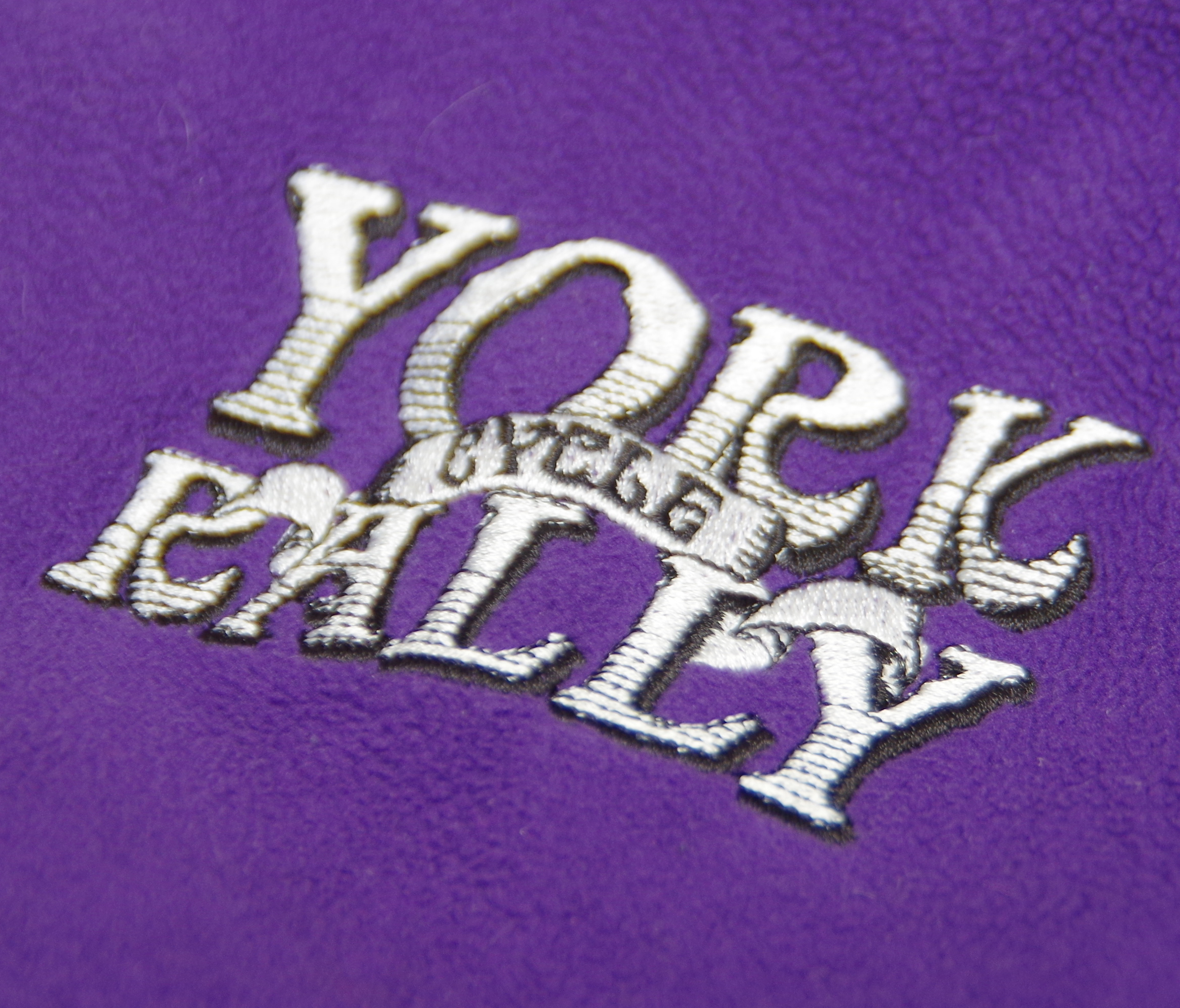 York Rally logo embroidered into purple fleece
