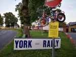 Bike on pole at entrance to York Rally